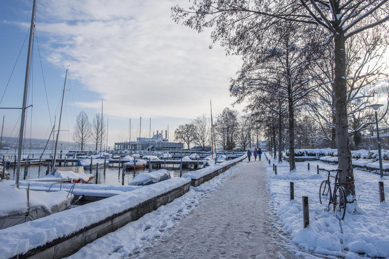 Snow in Zurich. Zurich, Switzerland, covered in snow after heavy snowfall royalty free stock photography