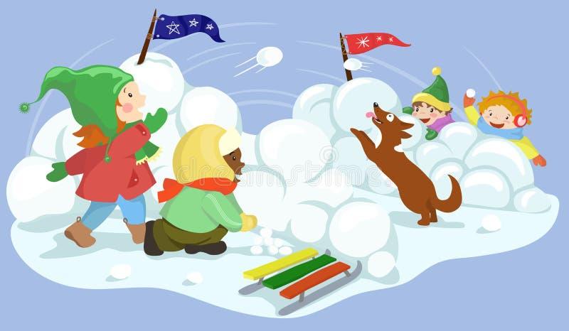 Winter Kids Playing With Snowballs Santa