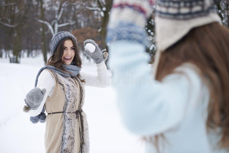 Snowball walka obraz royalty free