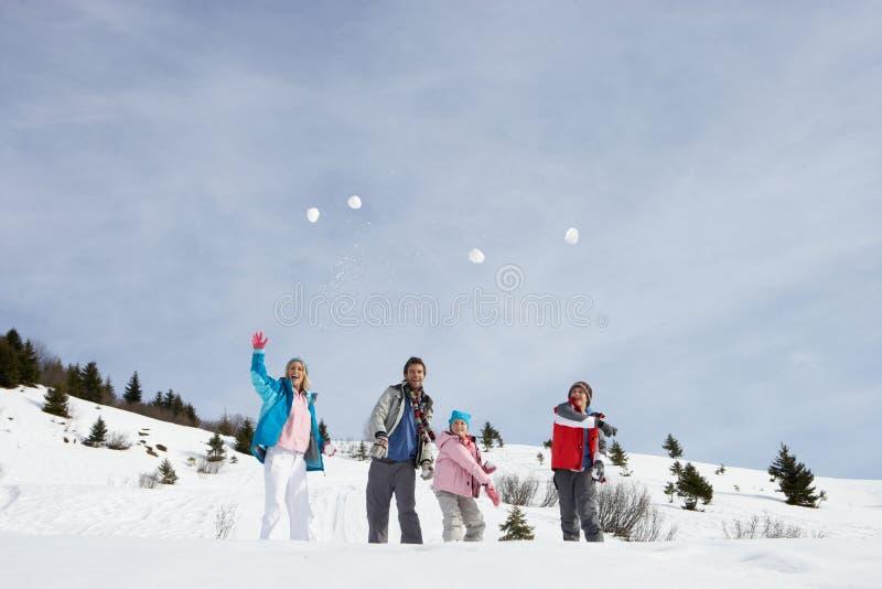 snowballs семьи бросая детенышей стоковые изображения