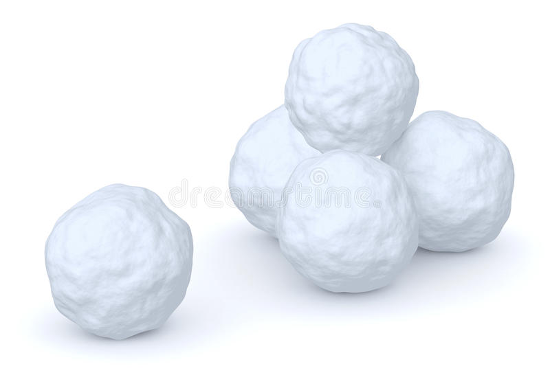 Snowballs heap and one snowball. Isolated on white background stock illustration