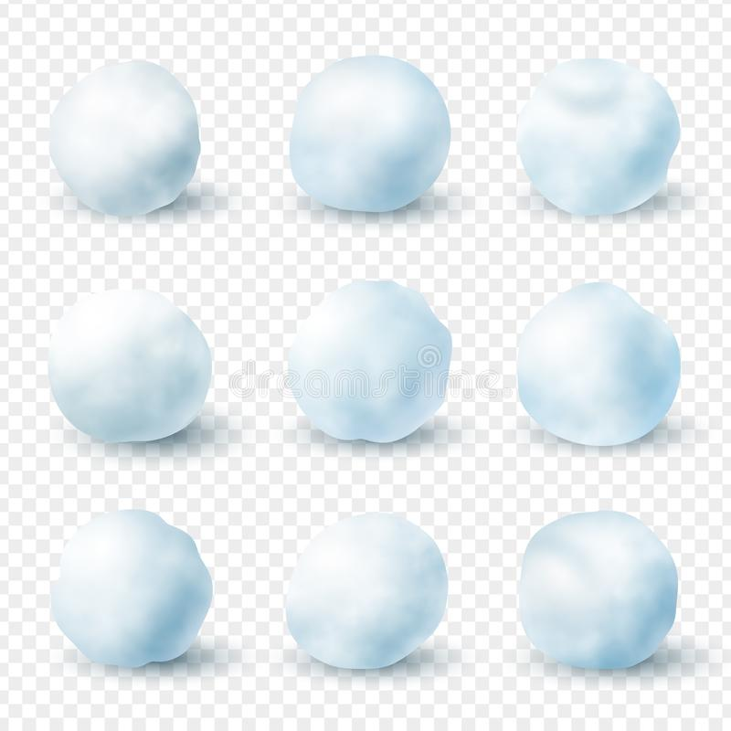 Snowballs realistic winter frost set, christmas decoration. Balls of packed snow, for throwing at fun. Vector illustration vector illustration