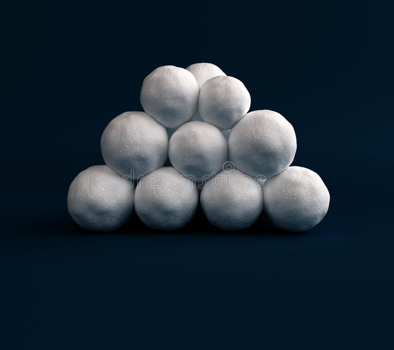 Set Isolated snow balls. Three-dimensional snow balls. Digital snow balls for design and decoration. Snow balls to play in royalty free stock photo