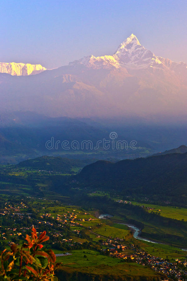 Snowberg snow mountain range nepal village royalty free stock images