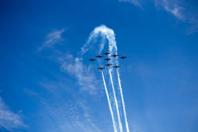 Snowbirds - καναδικές δυνάμεις 431 μοίρα επίδειξης αέρα στοκ εικόνες