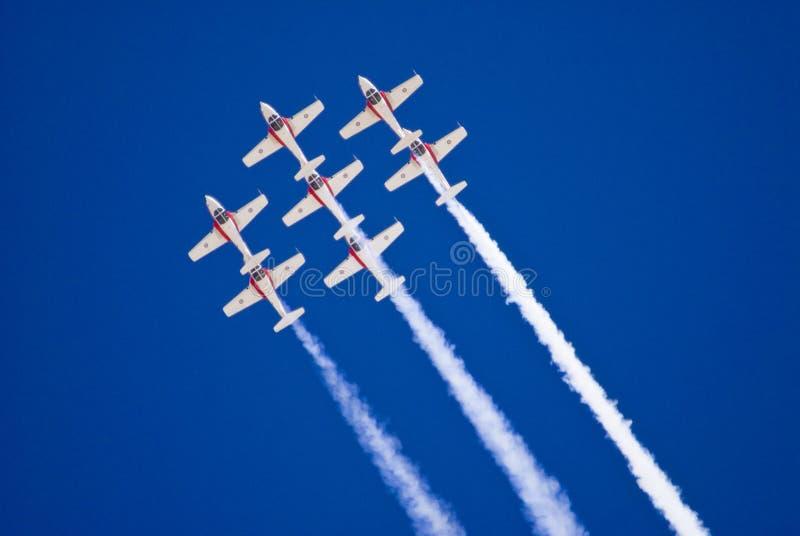Snowbirds en vuelo imagenes de archivo