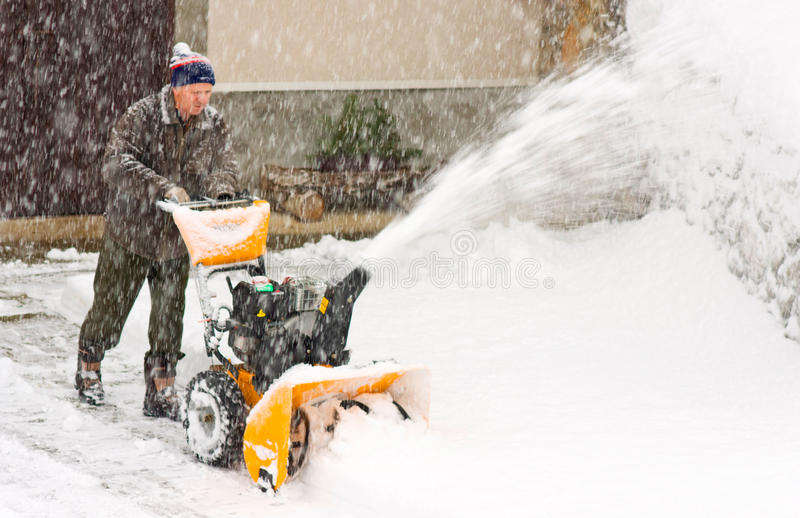 Download Snowblower in a snow storm stock image. Image of district - 18491211