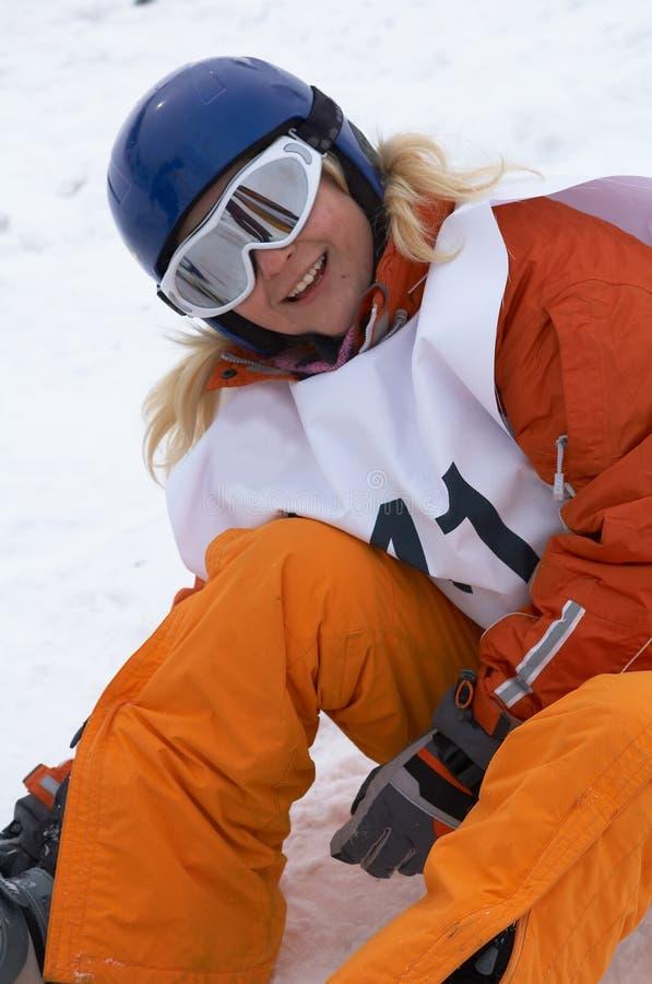 Download Snowboard девушки стоковое фото. изображение насчитывающей люди - 491498
