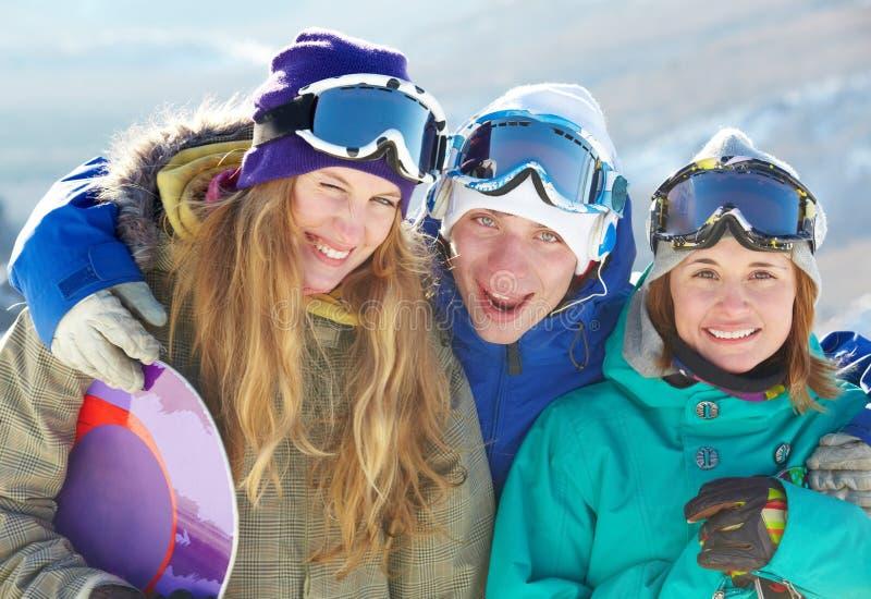 snowboard любовников стоковые фотографии rf