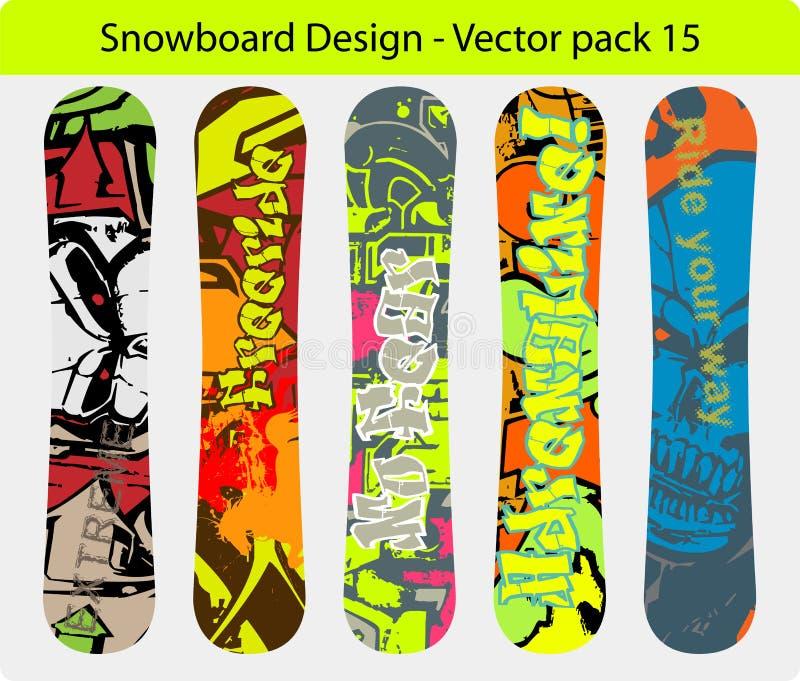 snowboard пакета 15 конструкций иллюстрация вектора