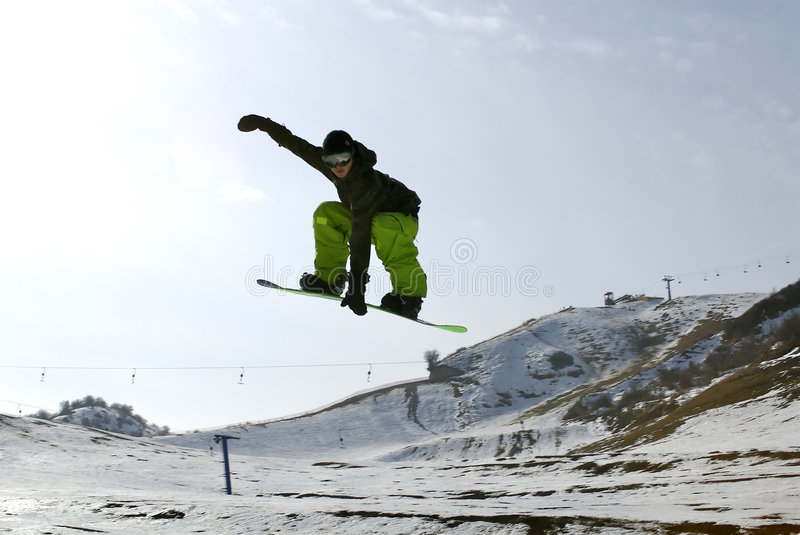 Snowboard. Beautiful snowboard in Kazakhstan, Almaty stock photo