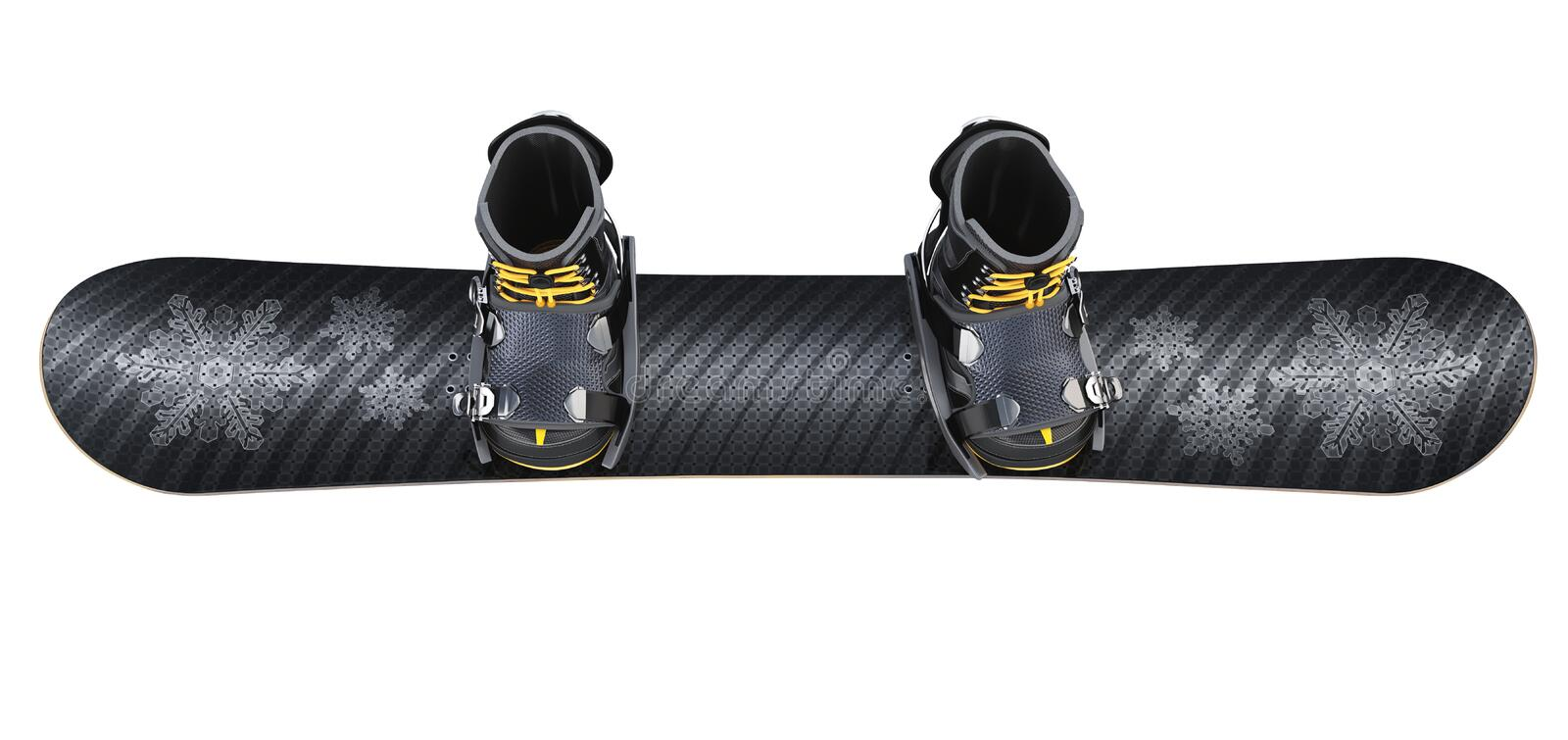 Snowboard with Boots isolated on White. Clipping path royalty free stock photography