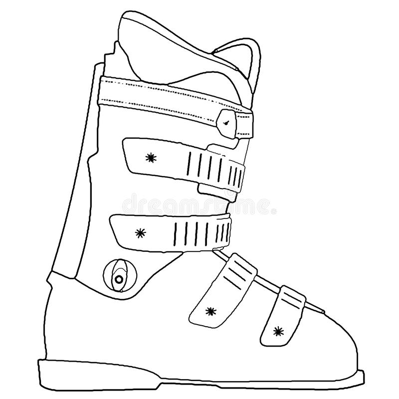 Snowboard Boots. An outline of a snowboard shoe on a neutral background vector illustration