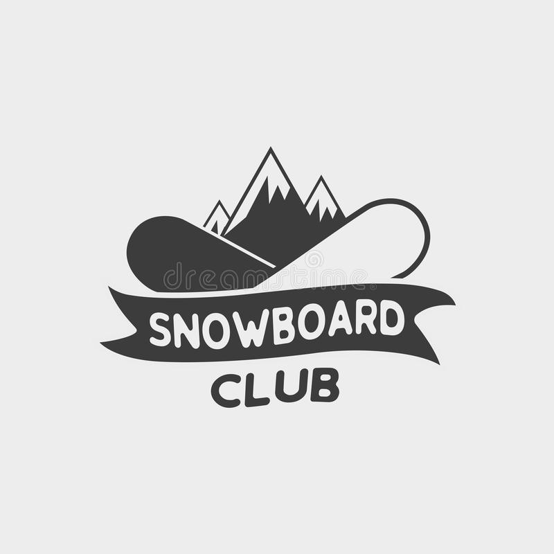 Snowboard club logo, label or badge template. Snowboarding symbol with two snowboards and mountains. stock illustration