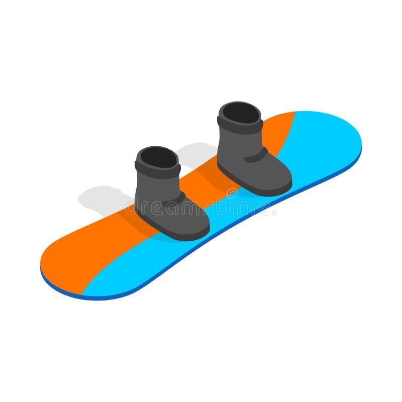 Snowboard com ícone das botas, estilo 3d isométrico ilustração do vetor