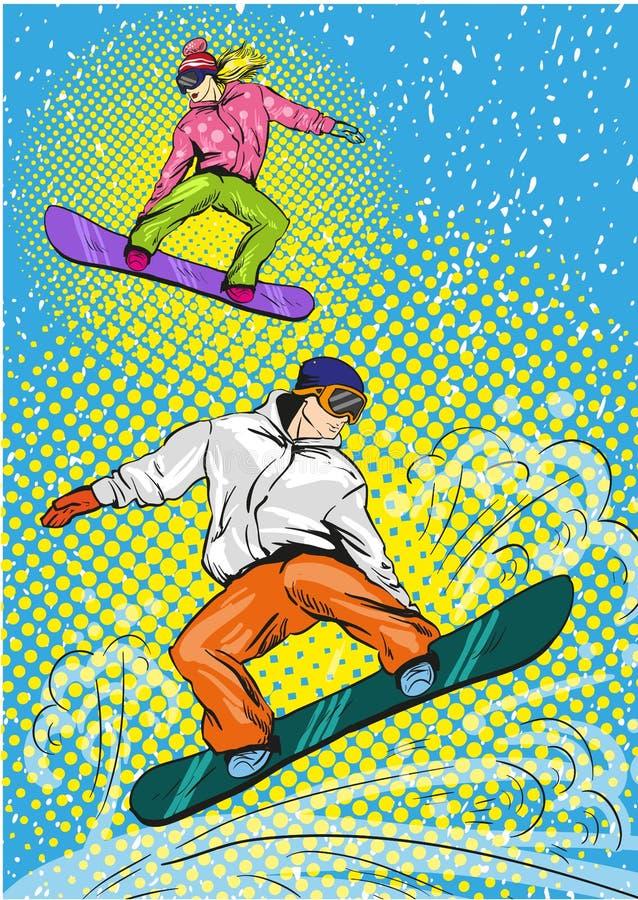 Snowboard del hombre y de la mujer en montañas Ejemplo del vector en estilo retro del arte pop ilustración del vector