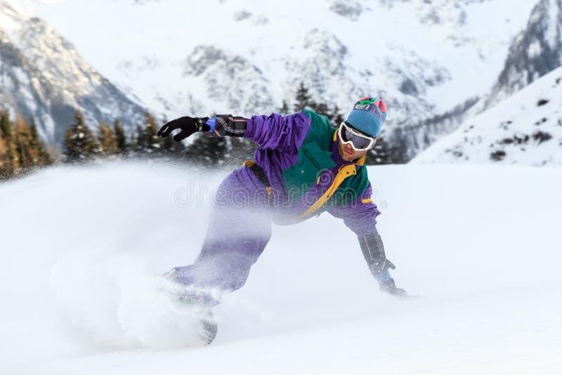 Snowboard dello spruzzo della neve immagini stock libere da diritti
