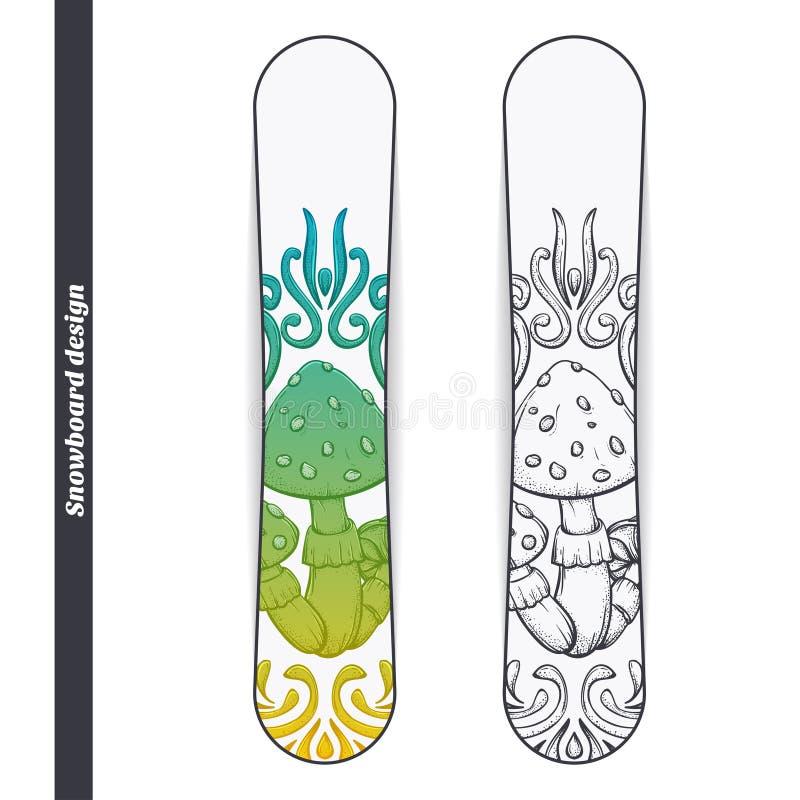 Snowboard Design Abstract Mushroom One vector illustration