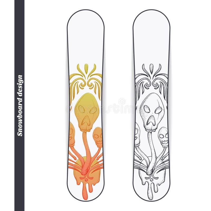 Snowboard Design Abstract Mushroom Three vector illustration