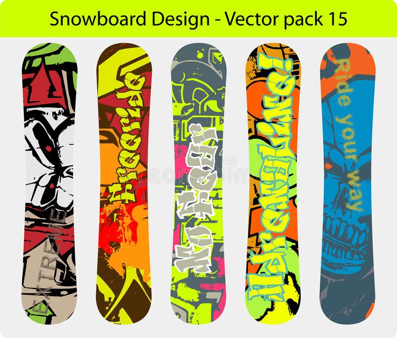 Snowboard design pack 15 royalty free stock image