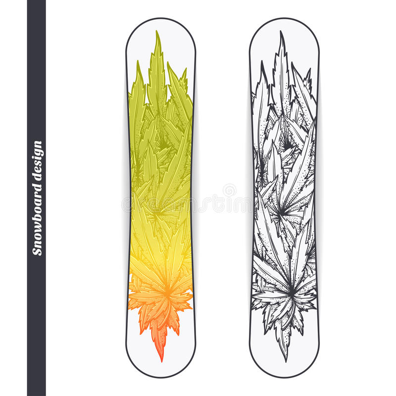 Snowboard Design Two. Design snowboard with a color and black hand drawn pattern of marijuana. Located on the white background royalty free illustration