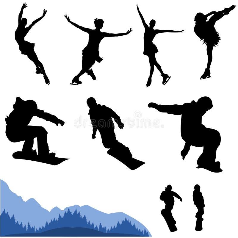 Snowboard e figura artística vetor ilustração royalty free