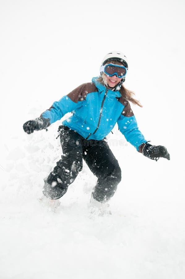 Snowboard en tormenta de la nieve foto de archivo