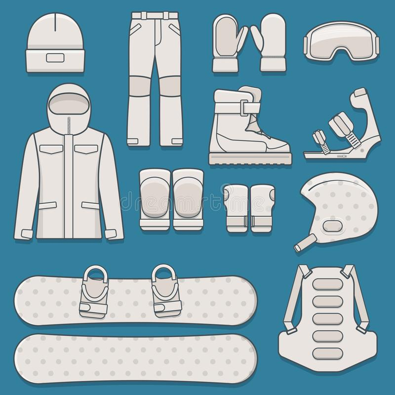 Set of snowboard equipment royalty free illustration