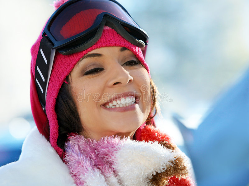 Snowboard girl stock images