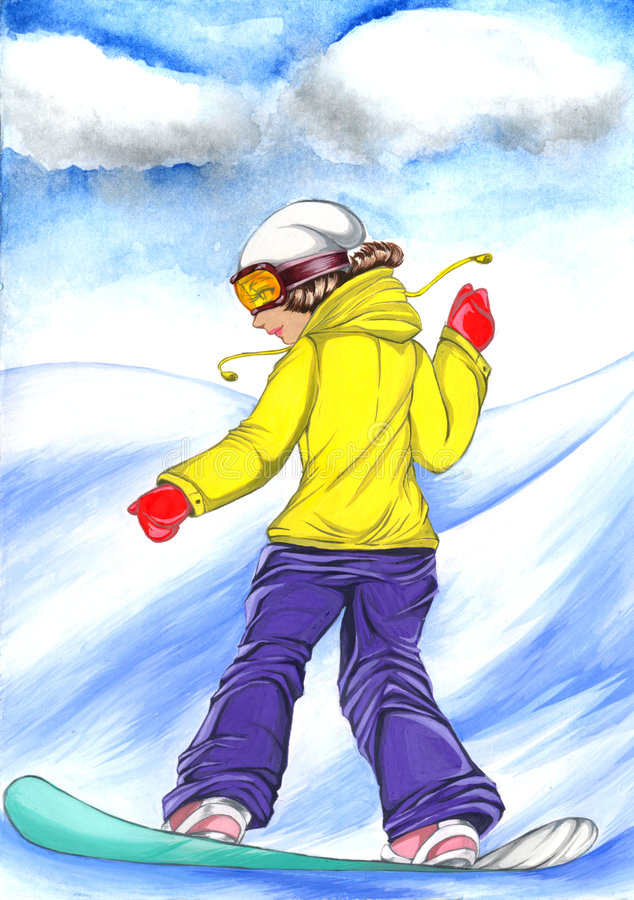 Download Snowboard Girl Illustration Royalty Free Stock Photos - Image: 8953538
