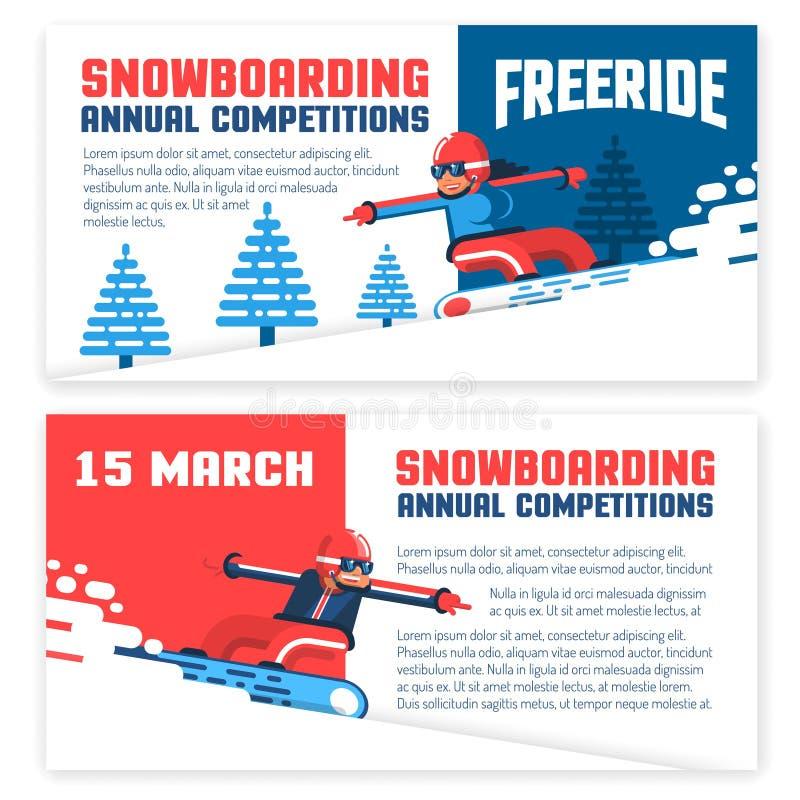 Snowboard horizontal flyers, invitations, tickets vector illustration