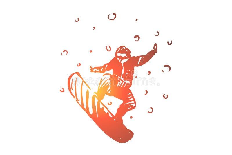 Snowboard, inverno, esporte, velocidade, conceito extremo Vetor isolado tirado mão ilustração stock