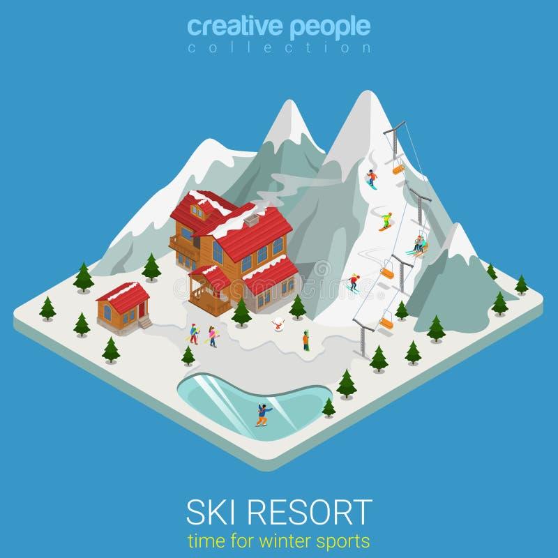 Snowboard isométrica plana del vector del deporte de la montaña del invierno de la estación de esquí libre illustration
