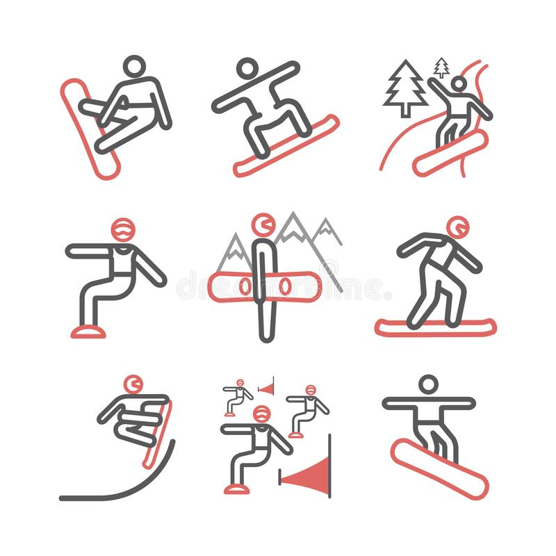 Snowboard line icon. Vector signs for web graphics. royalty free stock photo