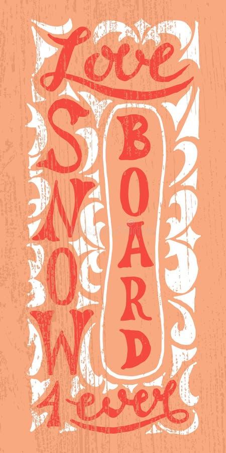 Snowboard met hand getrokken typografieaffiche royalty-vrije illustratie