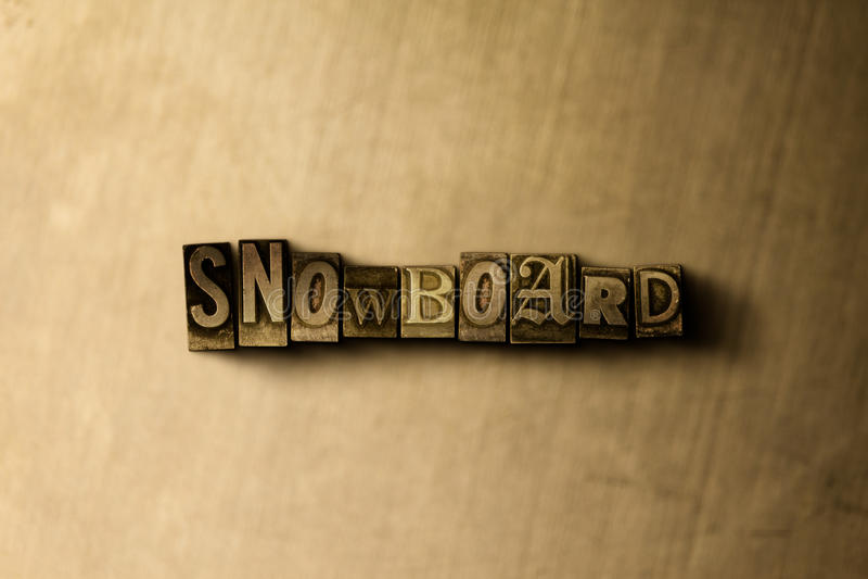 SNOWBOARD - närbild av det typsatta ordet för grungy tappning på metallbakgrunden stock illustrationer
