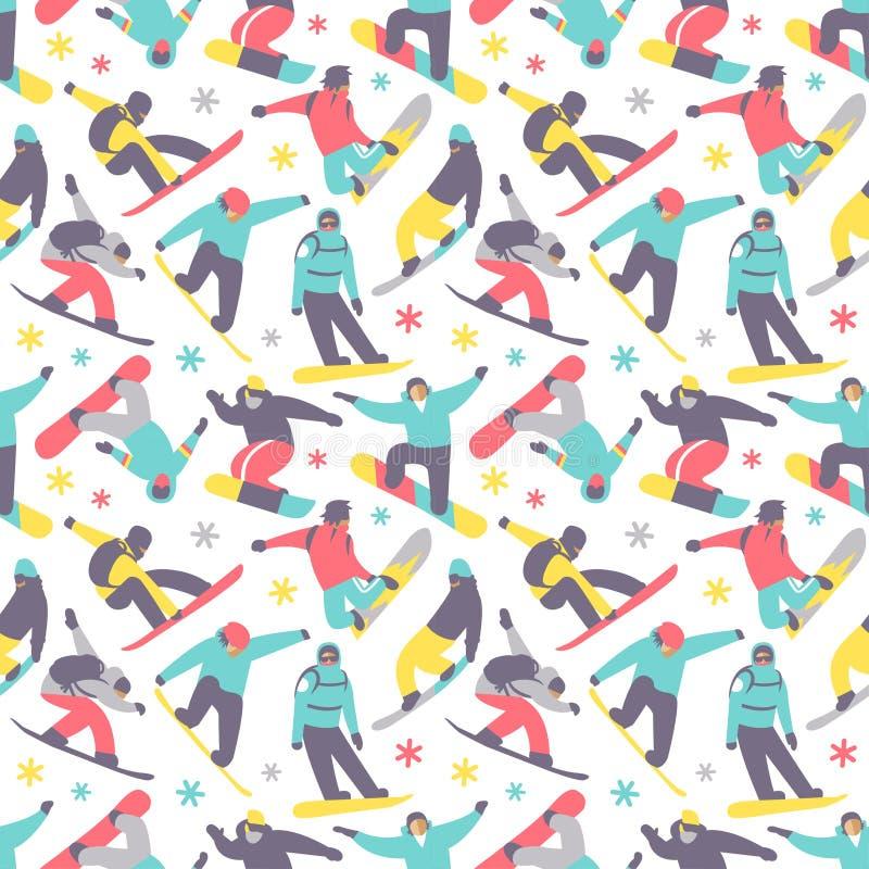 Snowboard seamless pattern vector. Snowboard seamless pattern extreme sport vector illustration. Snowboarder team graphic lifestyle background. Ski vacation vector illustration