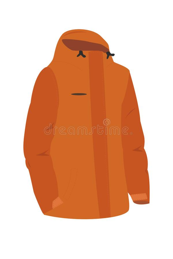 Snowboard or ski sports men`s winter jacket with a hood. vector illustration stock illustration