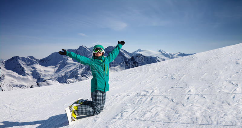 Snowboard at snow hill, Solden, Austria, extreme winter sport stock photography