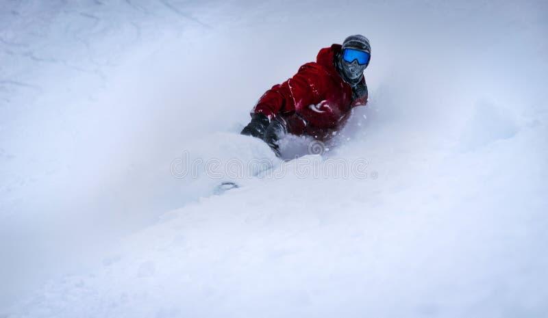 Snowboard a sole, banff, Canada fotografia stock libera da diritti