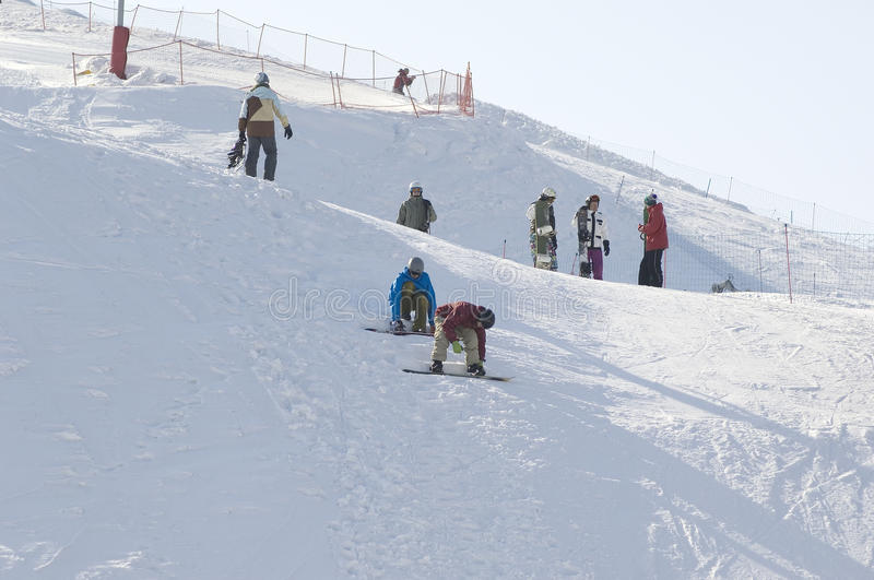 Snowboard training stock images