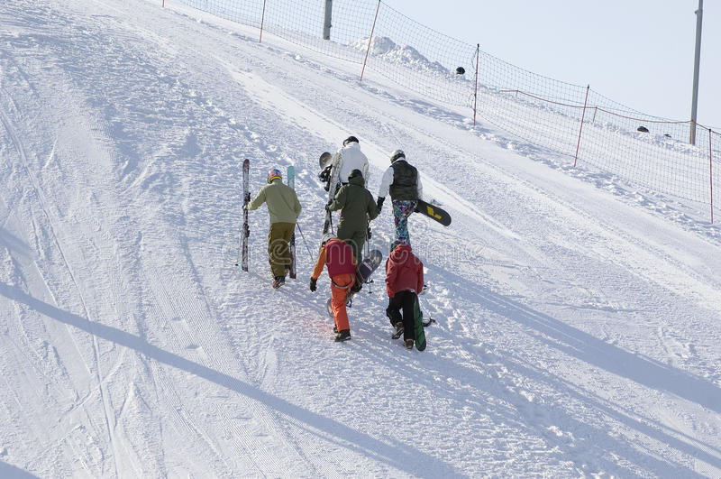 Snowboard training stock image