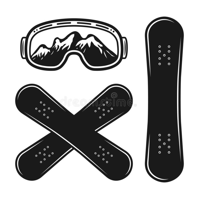 Snowboard decks and ski glasses vector objects vector illustration