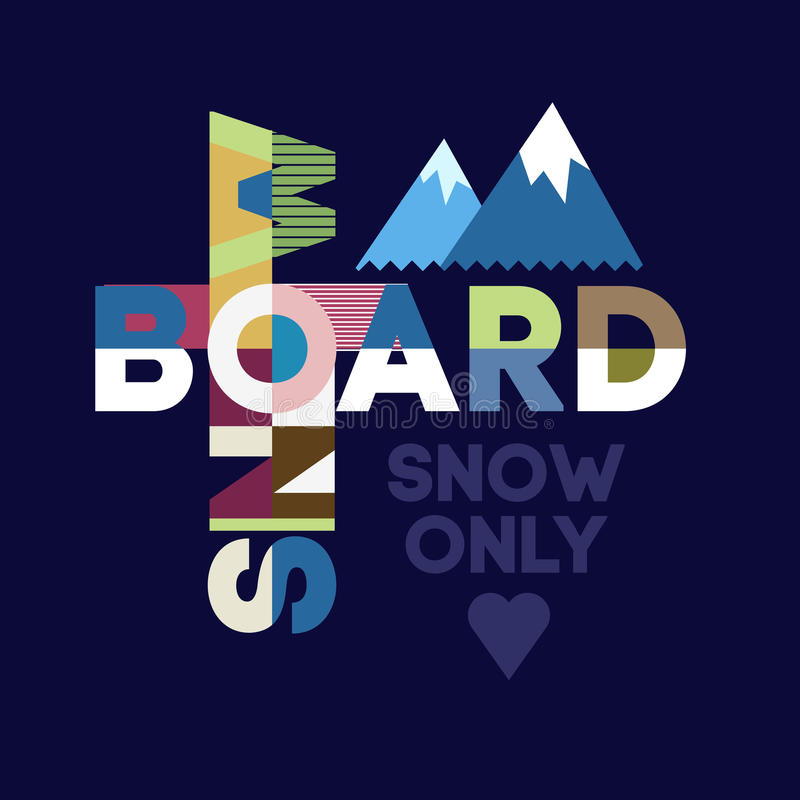 Snowboard typography vector illustration