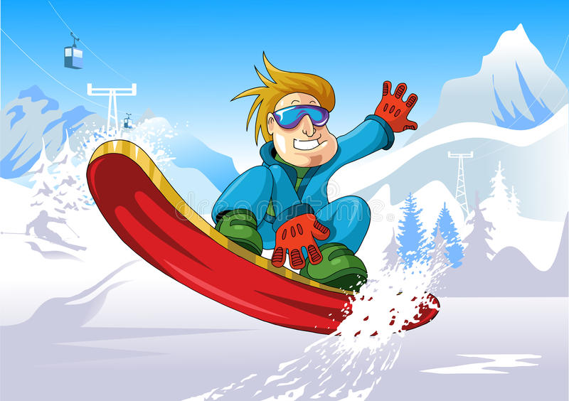 Snowboard vers le haut illustration stock