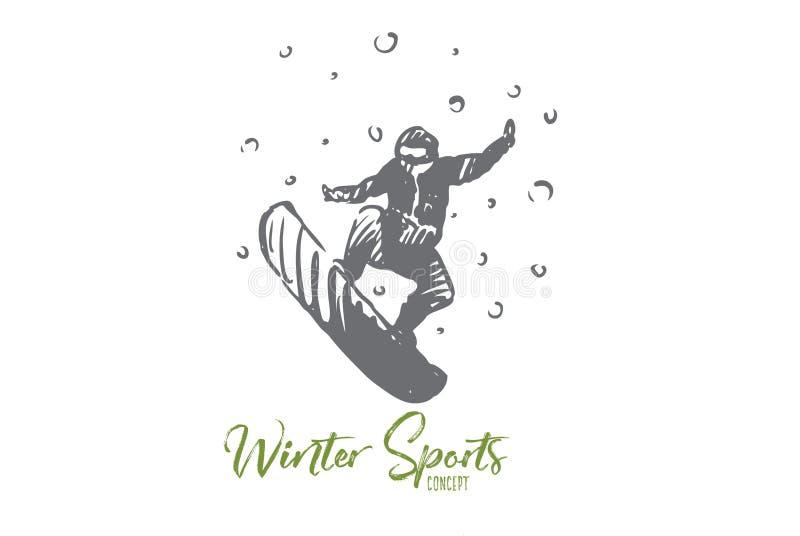 Snowboard vinter, sport, hastighet, extremt begrepp Hand dragen isolerad vektor vektor illustrationer