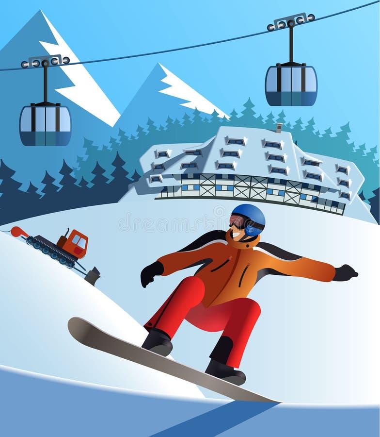 Snowboard zimy kurort ilustracja wektor