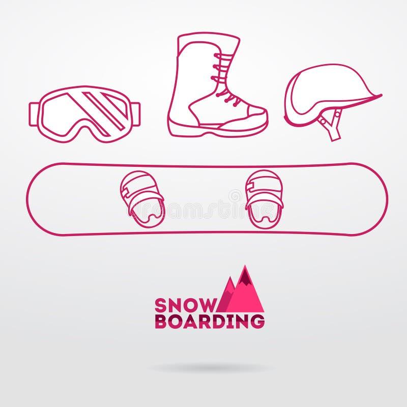 Snowboardausrüstung vektor abbildung