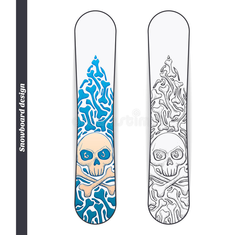 Snowboarddesign en stock illustrationer