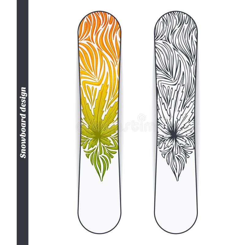 Snowboarddesign tre vektor illustrationer
